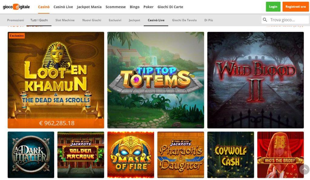 tutti i nuovi giochi di slot machine online giocodigitale